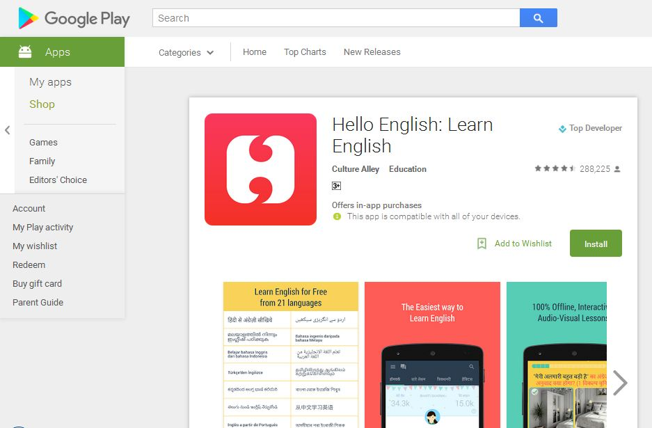 Download Aplikasi Bahasa Inggris Hello English di Playstore