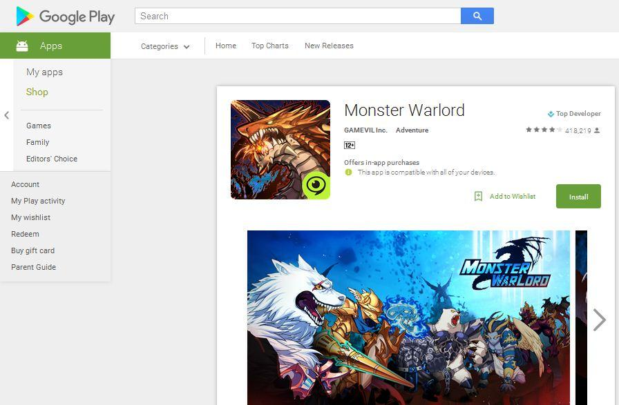 game petualangan android monster warlord