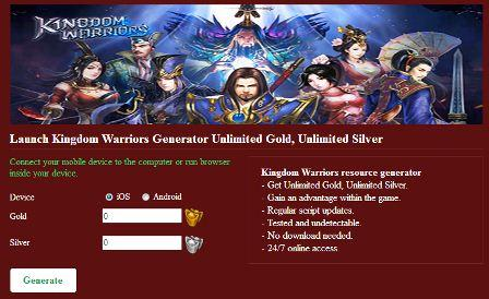 Cara Cheat Kingdom Warriors Unlimited Gold dan Silver Menggunakan Hack Tool Generator