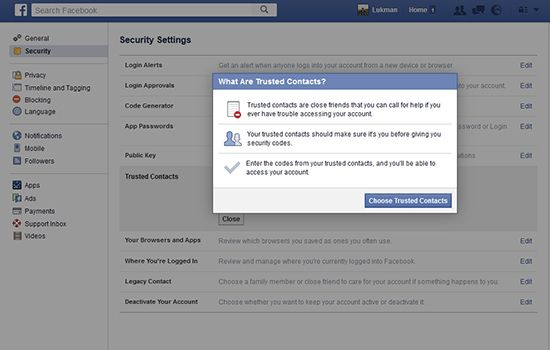 Tips Cara Anti Hack Facebook dengan Mengaktifkan Contacts Trusted